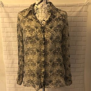 L'agence silk button down gray floral blouse top